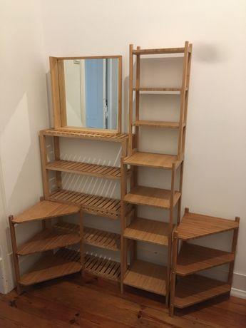 Movel casa de banho bambu ikea espelho lavatorio prateleiras estante