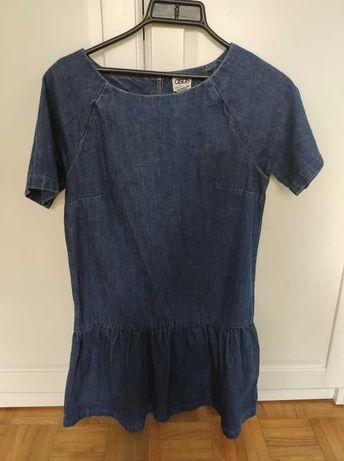 Asos sukienka jeansowa 36 z zamkiem z tyłu i falbaną
