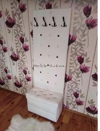 Wieszak, panel tapicerowany, z siedziskiem, szafką, otwierana. Glamur