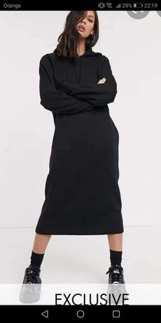 Czarna midi sukienka dresowa z kapturem rozmiar 42 XL ocieplana nowa