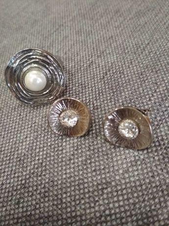 Набор бижутерии бу серьги перстень серебряный жемчуг стекло имитация
