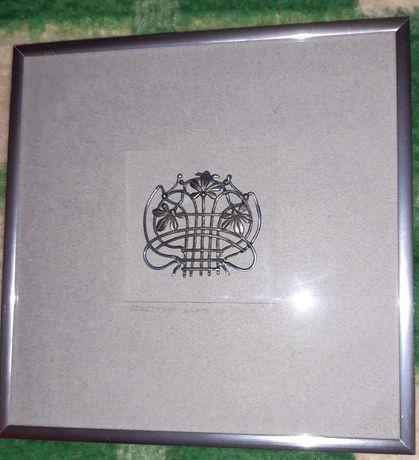 Miniatura srebrna Secesyjna krata okienna