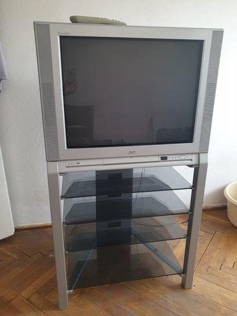 Telewizor JVC plus szklany stolik
