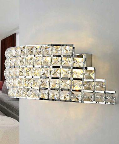 LAMPA Ścienna KINKIET Glamour Kryształowa CHROM