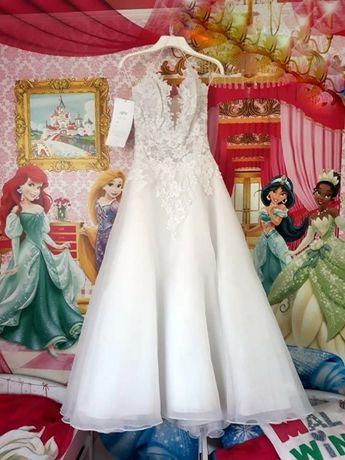 Piękna suknia ślubna rozm. 36/38 tren, cyrkonie, duży dekolt, błyszczy