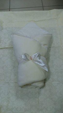 Велюровый конверт-одеяло с синтепоном на махре для выписки из роддома