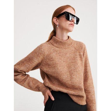 Reserved Premium ciepły sweter wełna moher camel camelowy S 36 M 38