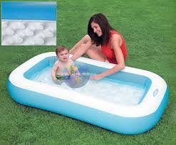 Бассейн надувной детский прямоугольный 166х100х28 см с надувным дном