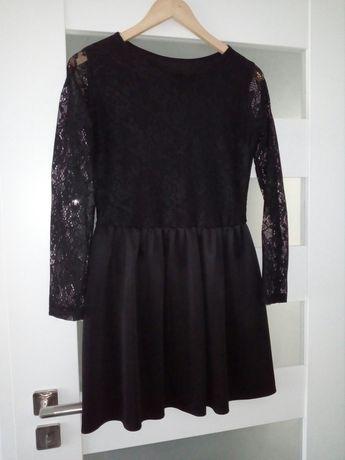 Sukienka czarna krótka koronkowa długi rękaw 36/38 możliwa zamiana