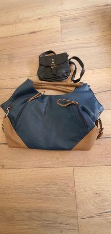 Modna Torebka niebieska brąz beż, mała czarna skórzana, dwie torebki