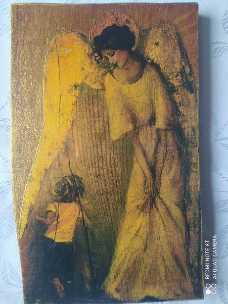 Anioł z dzieckiem-decoupage na desce