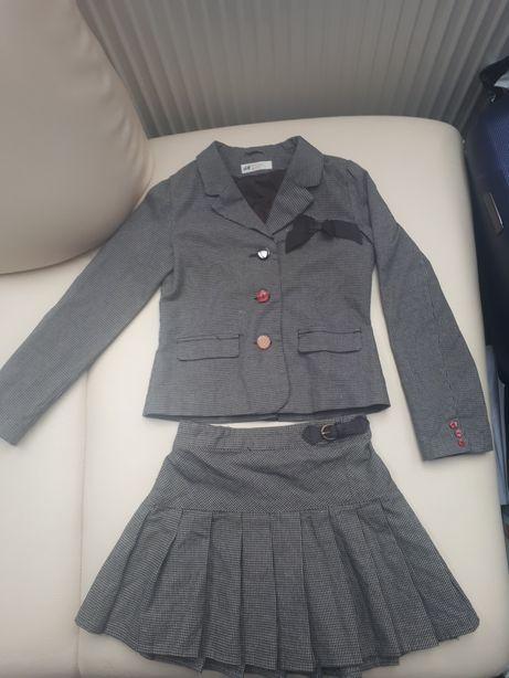 Komplet Elegancki marynarka spódnica H&M 128