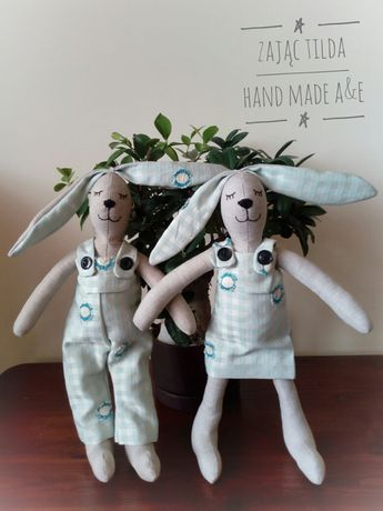 Dwa KRÓLIKI PARKA 38 cm - ozdoba, zabawka - HAND MADE