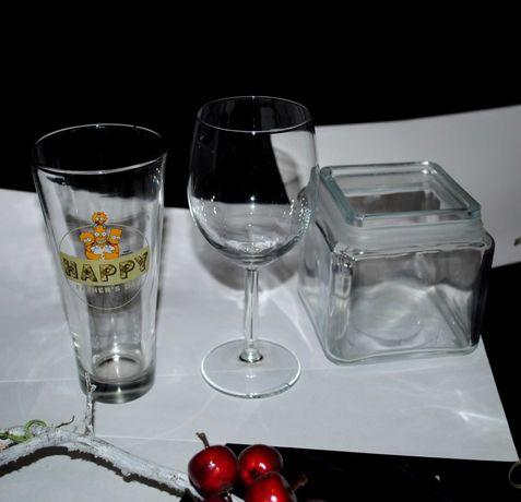 Комплект посуды стеклянной стакан бокал с нюансом сахарница