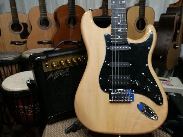 Gitara elektryczna + piecyk Ever Play ST2 + wzmacniacz Mega AMP ML-20
