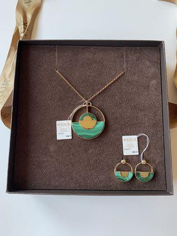 W.KRUK zestaw biżuterii naszyjnik kolczyki malachit mosiądz