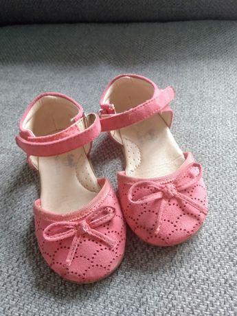 Buty balerinki dziewczęce różowe na rzepy baleriny