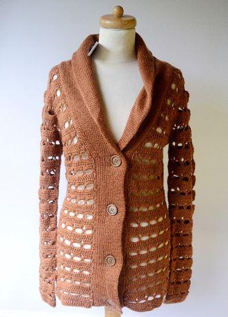 Sweter Ażurowy NOWY Brązowy Brąz S 36 Glamorous Zara Mango Mohito H&M