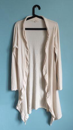Śmietankowy sweter kardigan - 55% jedwab 45% kaszmir