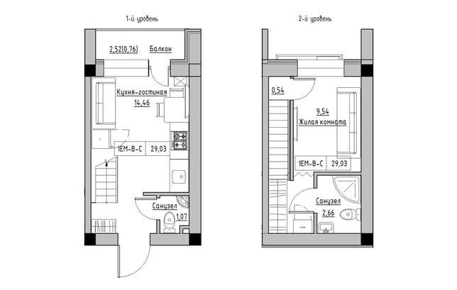 Продам однокомнатную Двухуровневую квартиру в Рассрочку с Ремонтом