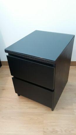 Mesa cabeceira MALM, preto/castanho ,vidro escuro incluido