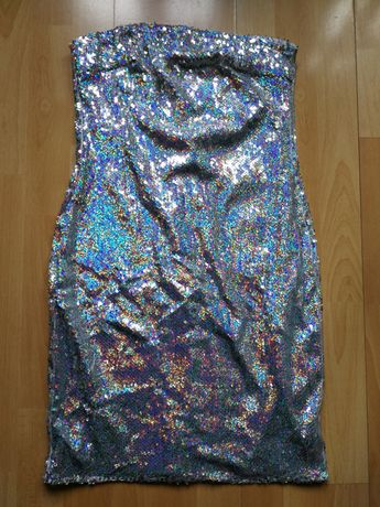 Parisian oszałamiająca cekinowa sukienka mini M 38