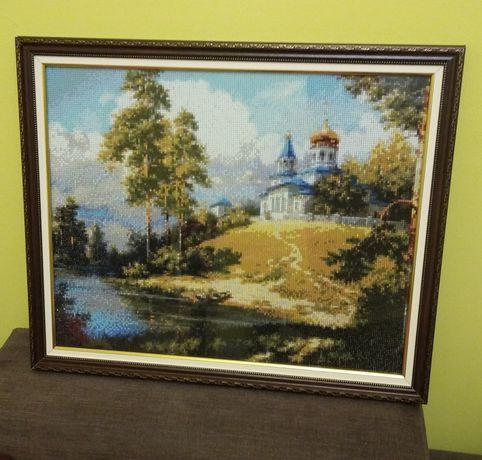 """Картина """"Церква на пагорбі"""". Алмазна мозаїка."""
