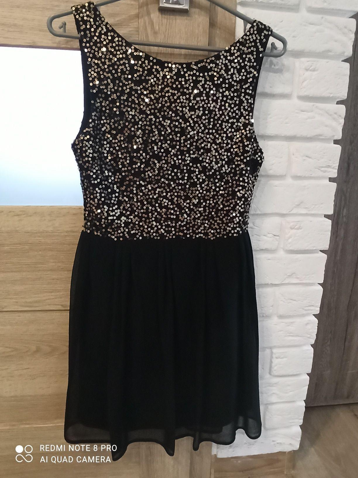 Sukienka czarno-zlota z cekinami
