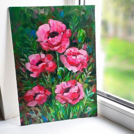 "Картина маслом на оргалите ""Розовые маки"""