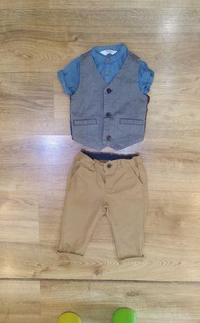Костюм тройка брюки h&m рубашка primark жилетка пиджак 74р