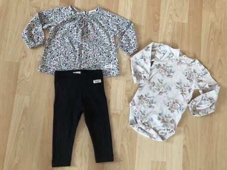 Zestaw legginsy body bluzeczka dla dziewczynki Newbie KappAhl 68/74