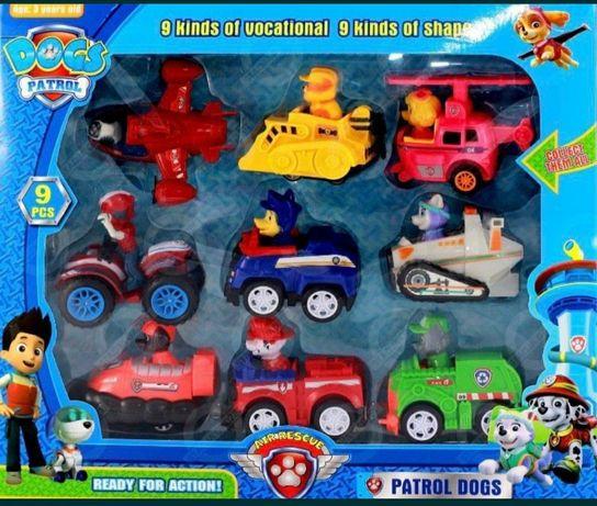 NOWY psi Patrol, zestaw 9 autem z napędem, chese, reyder, sky