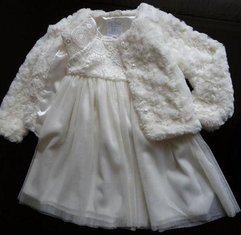 Sukienka z kożuszkiem 86-92cm kolor ecru