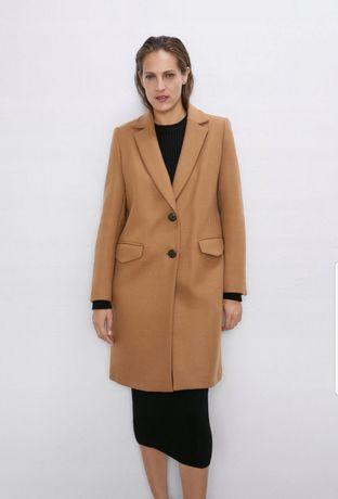 ZARA nowy płaszcz wełniany camel wełna oversize brązowy męski krój L