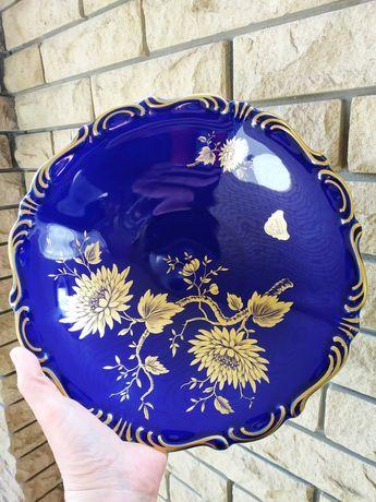 Фарфоровая декоративная тарелка блюдо Германия Винтаж Фарфор Кобальт