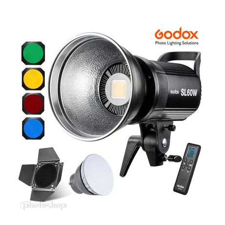 Godox SL60W LED + BD-04 шторки / соты / фильтры / рассеиватель, пульт