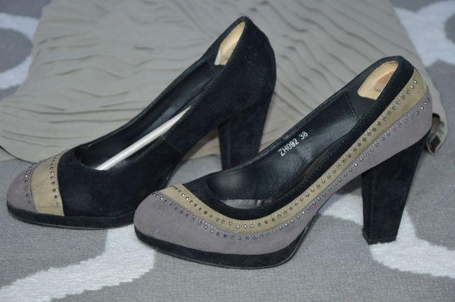 Buty damskie na grubym korku zamszowe z cekinami szare czarne zieleń