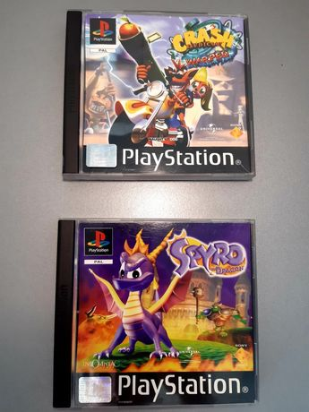 Jogos Crash Bandicoot 3 Warped e Spyro the Dragon para PlayStation/PS1