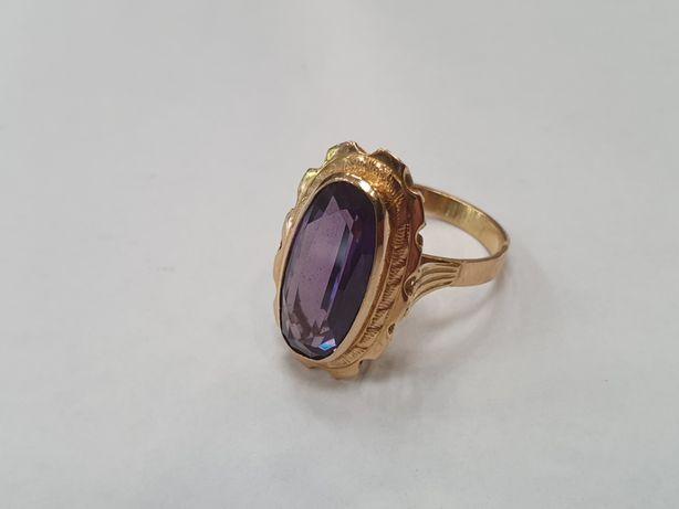 Piękny złoty pierścionek damski/ 585/ 6.8 gram/ Aleksandryt/ R17/