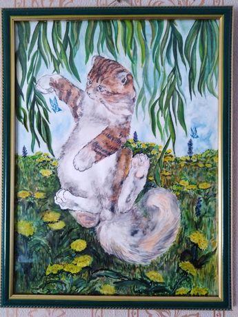 Картина акварелью Кот