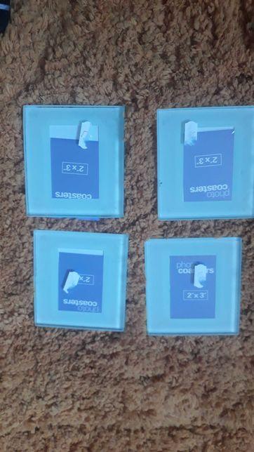 4x szklane ramki na zdjęcia lub jako podstawki