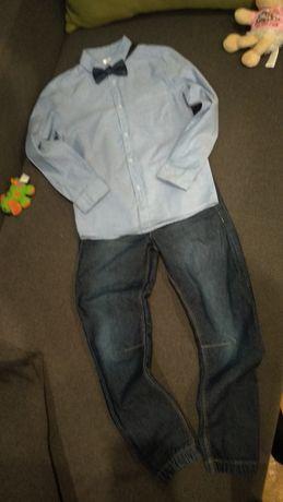 Komplet zestaw elegancki koszula mucha spodnie 128 święta