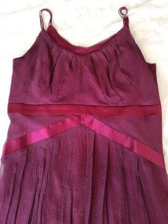 Sukienka bordowa, cienkie ramiączka MAKALU- rozmiar 40