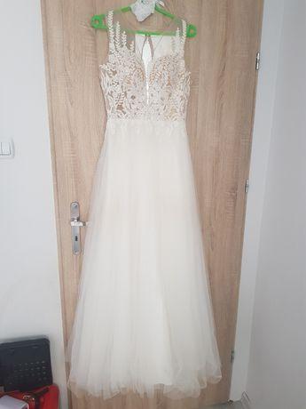Suknia ślubna 36/38 w literę A śmietankowa biel