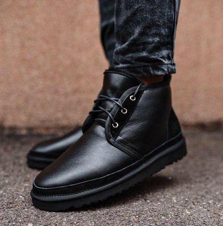 Мужские Ботинки UGG/Угги/Угг/Australia Neumel Black (Кожа 100% Овчина)