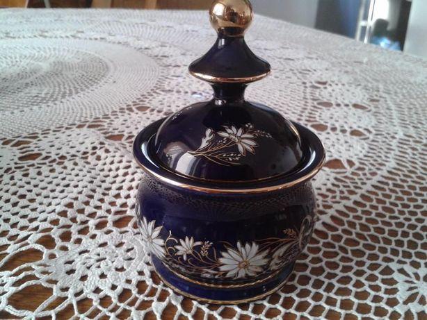Piękna stylowa cukiernica bomboniera kobalt