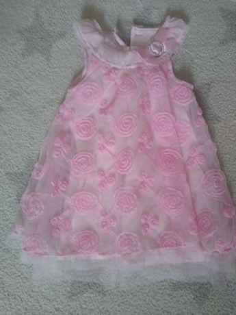 Sukienka  rozowa z dekracyjna koronka r 18 m.
