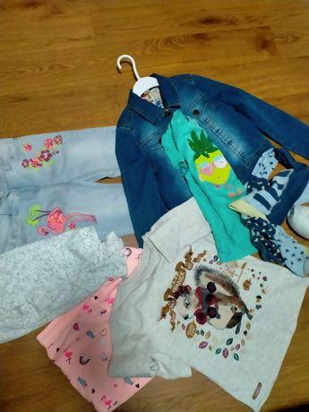 Пакет вещей, джинсы, комплект, реглан, кофта - на 7-8 лет