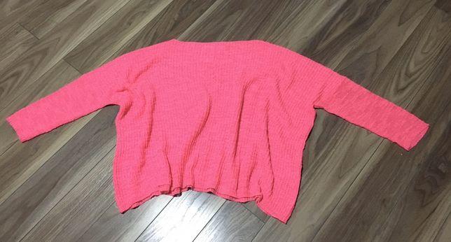 Zara różowy neonowy sweter rozmiar M
