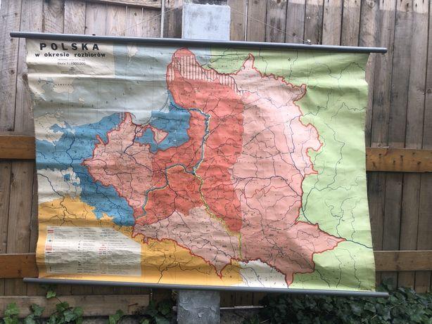 POLSKA W OKRESIE ROZBIOROW szkolna mapa dydaktyczna 1972